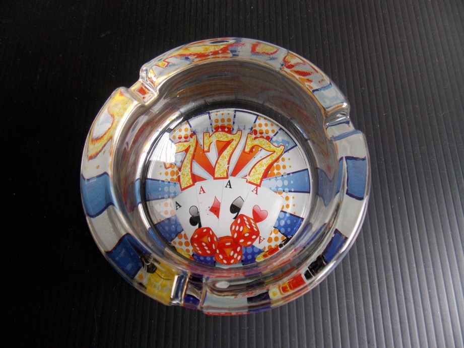 777 With 4-Aces Glass Ashtray