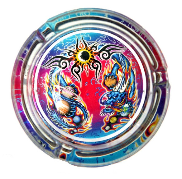 Curling Dragon Glass Ashtray
