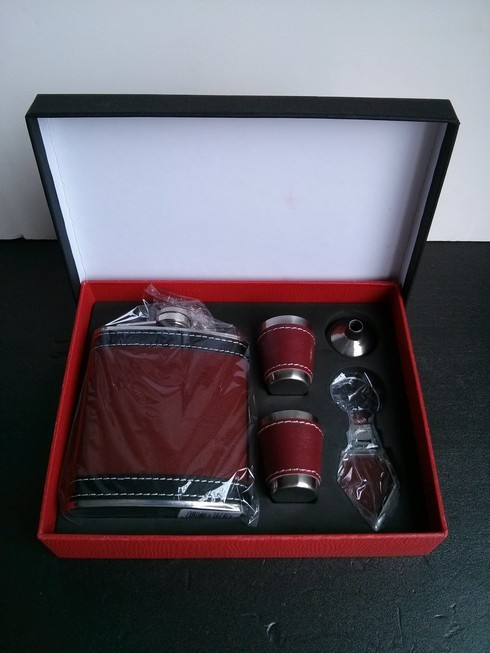 7oz Leather Wrap Stainless Steel Liquor Flask, Funnel ,2 Shot Cup and Keyring Gift Set