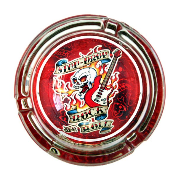Rock And Roll Glass Ashtray