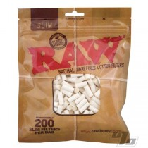 Raw Cotton Filters 200/bag - Slim 6mm